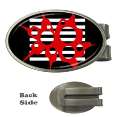 Red, black and white abstract design Money Clips (Oval)