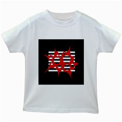 Red, black and white abstract design Kids White T-Shirts