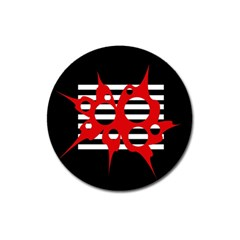 Red, black and white abstract design Magnet 3  (Round)