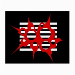 Red, black and white abstract design Small Glasses Cloth