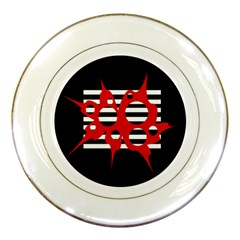 Red, black and white abstract design Porcelain Plates