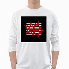 Red, black and white abstract design White Long Sleeve T-Shirts