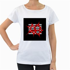 Red, black and white abstract design Women s Loose-Fit T-Shirt (White)