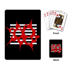 Red, black and white abstract design Playing Card