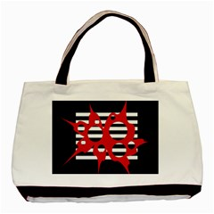 Red, black and white abstract design Basic Tote Bag
