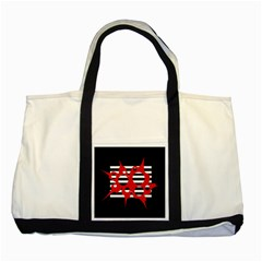 Red, black and white abstract design Two Tone Tote Bag