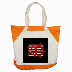 Red, black and white abstract design Accent Tote Bag
