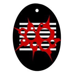 Red, black and white abstract design Oval Ornament (Two Sides)