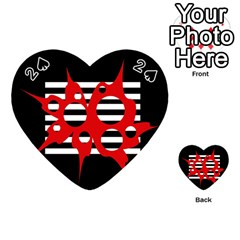 Red, black and white abstract design Playing Cards 54 (Heart)