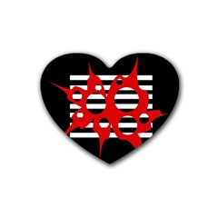 Red, black and white abstract design Rubber Coaster (Heart)