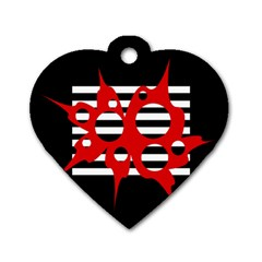 Red, black and white abstract design Dog Tag Heart (One Side)