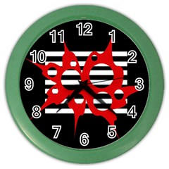 Red, black and white abstract design Color Wall Clocks