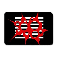 Red, black and white abstract design Small Doormat