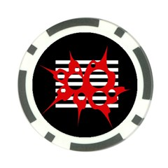 Red, black and white abstract design Poker Chip Card Guards