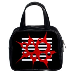 Red, black and white abstract design Classic Handbags (2 Sides)