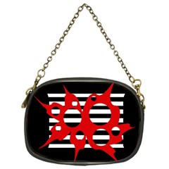 Red, black and white abstract design Chain Purses (One Side)