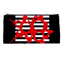 Red, black and white abstract design Pencil Cases