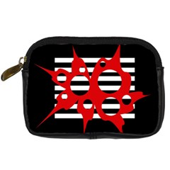 Red, black and white abstract design Digital Camera Cases