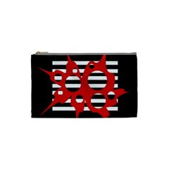 Red, black and white abstract design Cosmetic Bag (Small)