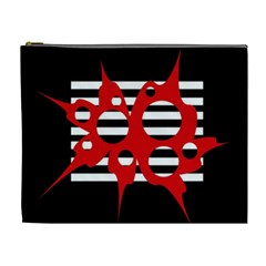 Red, black and white abstract design Cosmetic Bag (XL)