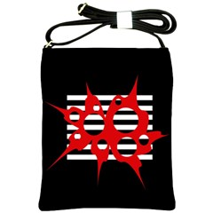 Red, black and white abstract design Shoulder Sling Bags