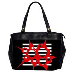 Red, black and white abstract design Office Handbags (2 Sides)