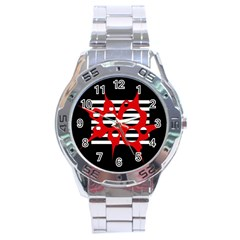 Red, black and white abstract design Stainless Steel Analogue Watch