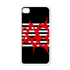 Red, black and white abstract design Apple iPhone 4 Case (White)