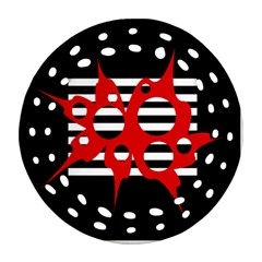 Red, black and white abstract design Round Filigree Ornament (2Side)