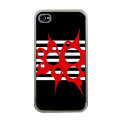 Red, black and white abstract design Apple iPhone 4 Case (Clear)