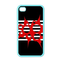 Red, black and white abstract design Apple iPhone 4 Case (Color)