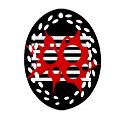 Red, black and white abstract design Ornament (Oval Filigree)