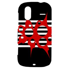 Red, black and white abstract design HTC Amaze 4G Hardshell Case