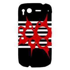 Red, black and white abstract design HTC Desire S Hardshell Case