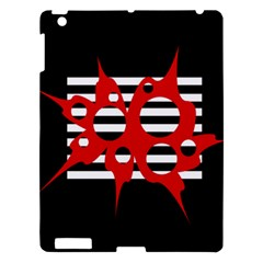 Red, black and white abstract design Apple iPad 3/4 Hardshell Case