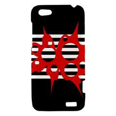 Red, black and white abstract design HTC One V Hardshell Case