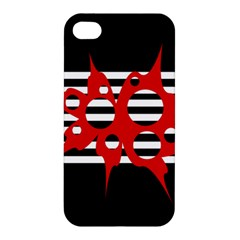 Red, black and white abstract design Apple iPhone 4/4S Premium Hardshell Case
