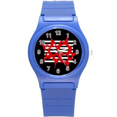 Red, black and white abstract design Round Plastic Sport Watch (S)