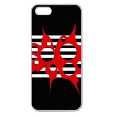Red, black and white abstract design Apple Seamless iPhone 5 Case (Clear)