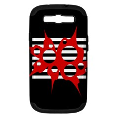 Red, black and white abstract design Samsung Galaxy S III Hardshell Case (PC+Silicone)