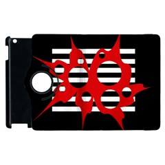 Red, black and white abstract design Apple iPad 2 Flip 360 Case