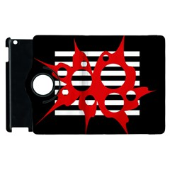 Red, black and white abstract design Apple iPad 3/4 Flip 360 Case