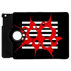 Red, black and white abstract design Apple iPad Mini Flip 360 Case