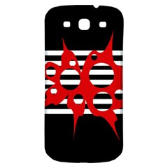 Red, black and white abstract design Samsung Galaxy S3 S III Classic Hardshell Back Case