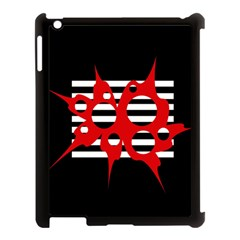Red, black and white abstract design Apple iPad 3/4 Case (Black)