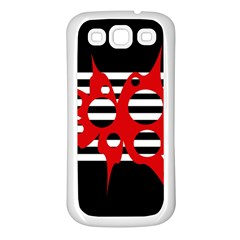 Red, black and white abstract design Samsung Galaxy S3 Back Case (White)