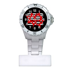 Red, black and white abstract design Plastic Nurses Watch