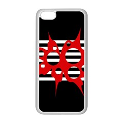 Red, black and white abstract design Apple iPhone 5C Seamless Case (White)