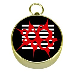 Red, black and white abstract design Gold Compasses