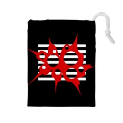 Red, black and white abstract design Drawstring Pouches (Large)